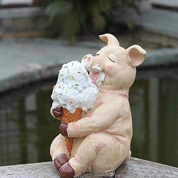 Figura Decorativa para jardín Linda Glotón Animal Cerdito De Resina Impermeable Estatua Del Jardín Para La Yarda Del Césped Del Paisaje Decoración Hace El Regalo A -13 * 12 * 22cm A:
