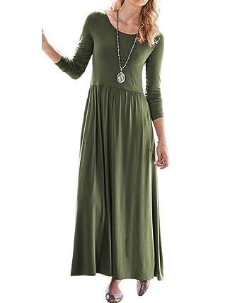 43836d7da7 Jacansi Women Long Sleeve Round Neck Casual Loose Plain Maxi Dress with Pockets  UK 6-16  Amazon.co.uk  Clothing