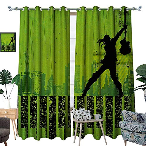 Popstar Party Room Darkening Wide Curtains Music in The City Theme Singer with Electric Guitar on Grunge Backdrop Customized Curtains W108 x L96 Lime Green Black