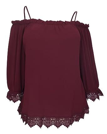 ba1c32419b504 eVogues Plus Size Crochet Trim Off Shoulder Top Burgundy - 1X at ...