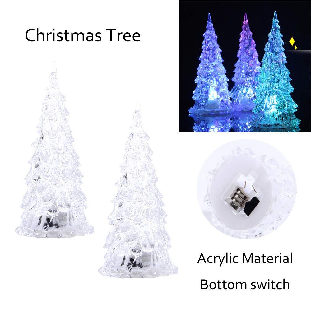 Euone LEDツリー クリスマスツリー カラフルなLEDアクリルナイトライト 装飾用 子供向けおもちゃギフト 2個   B07JMMRHT7