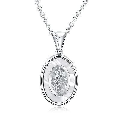 AmDxD Joyas Acero Inoxidable Collares para Mujer Virgin Mary ...