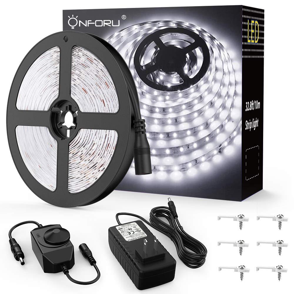 Onforu 33ft Dimmable LED Strip Lights Kit, 600 Units SMD 2835 LEDs, 12V Under Cabinet Lighting Strips, 10m LED Ribbon, Non-Waterproof Tape, 5000K Daylight White