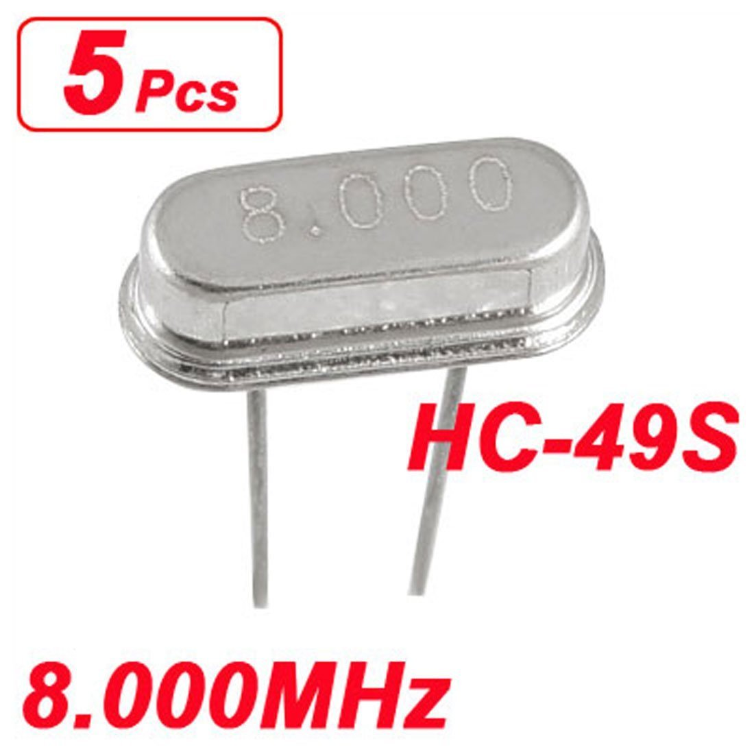 sourcingmap 5 x 8.000 MHz 8MHz Crystal HC-49S DIP Mounting Crystal Oscillator a11102000ux0070