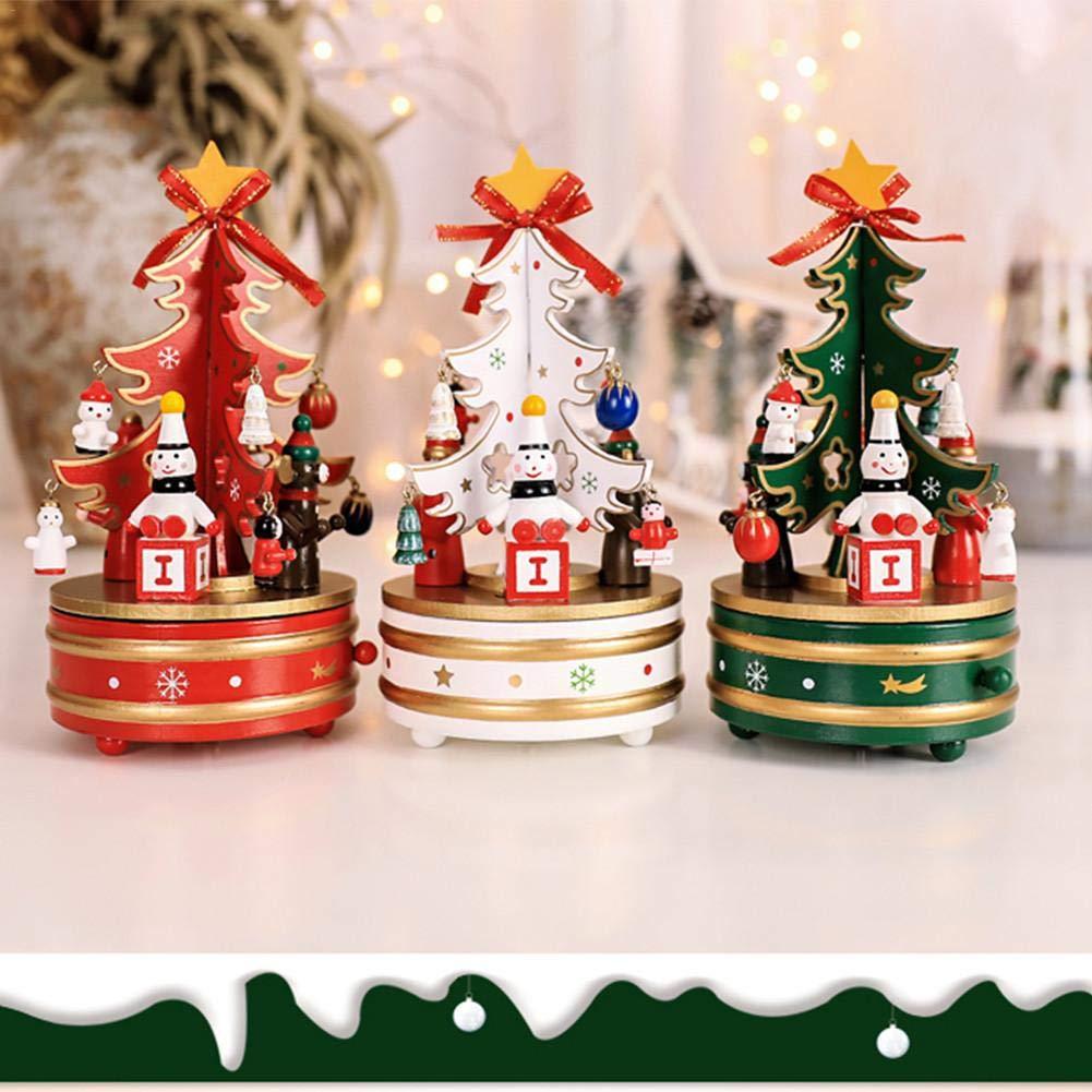 Music Box, albero di Natale in legno carillon campana carillon artigianato ornamenti, regali di Natale in legno rotante Music Box desktop decorazione per Merry Christmas, rosso Sue Supply