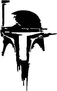 SW Boba Fett Helmet Vinyl Decal Windows Cars Trucks Toolbox Laptop   Black   6
