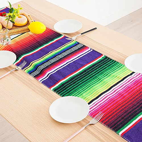 AYUQI Mexican Table Runner, Christmas Decoration Elegantly Handwoven Fringe Mexican Party Wedding Decorations Cotton Table Runner Serape -