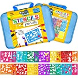 Stencil Drawing Kit w/ Carry Case - Over 300 Shapes - LARGE Drawing Stencils for Kids Art Include Plastic Alphabet Stencils, Geometric Shapes, Animals, and More!