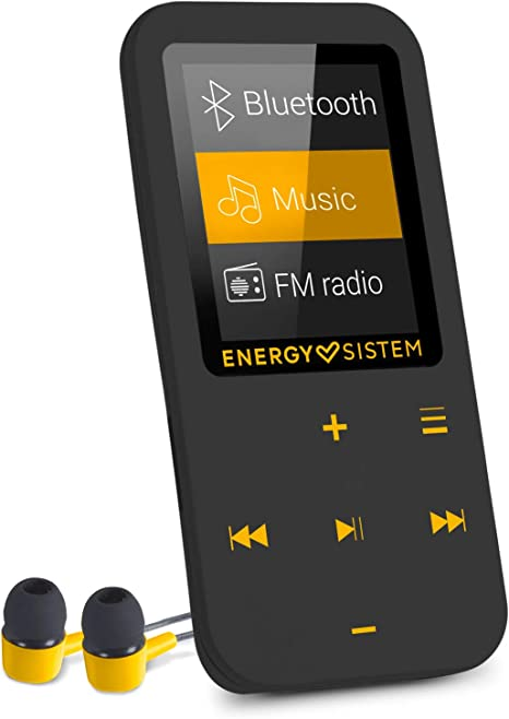 TALLA 16 GB. Energy Sistem Touch Amber - Reproductor MP4 con tecnología Bluetooth (16 GB, Auriculares intrauditivos, Radio FM, MicroSD) Color Negro y ámbar