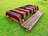 Ambesonne 4th July Outdoor Tablecloth, Wooden Planks Painted as United States Flag Patriotic Country Style, Decorative Washable Picnic Table Cloth, 58 X 104 inches, Red Beige Navy Blue