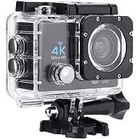 Serounder 4K 1080P Cámara de acción Full HD WiFi al Aire Libre 30m Cámara Deportiva Impermeable Videocámara DV con Control Remoto y Kit de Accesorios(Negro)