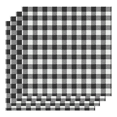 Aneco 12 x 12 Inch Buffalo Plaid 4 Sheet White & Black Plaid Fabric Printed Vinyl Sheets Adhesive Thermal Transfer Cloth Craft