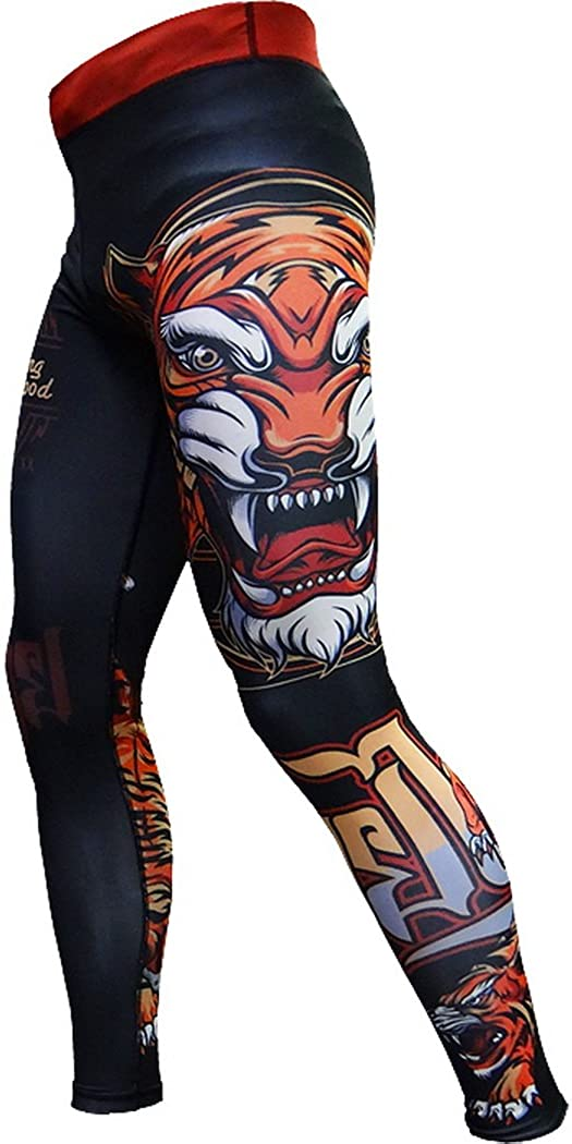 Hardcore Training Tiger Compression Pants Men's Spats Leggings Base Layer No Gi Tights MMA BJJ Grappling Fitness Workout Running