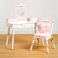 Wildkin Kids Princess Wooden Vanity and Chair Set for Boys and Girls, Vanity Features Mirror and Attached Jewelry Box and Music Box, Includes Matching Chair with Removable Backrest and Seat Cushion