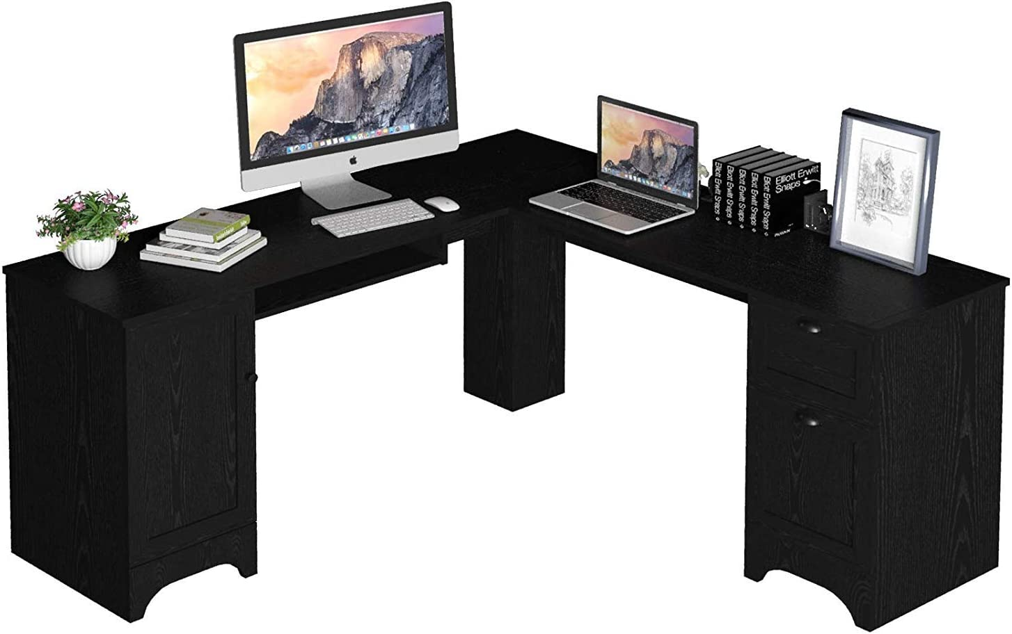 """Tangkula 66.5"""" ×66.5"""" L-Shaped Desk, Modern Corner Computer Table with Drawers and Adjustable Shelf, Study Writing Table Workstation for Home Office (Black)"""