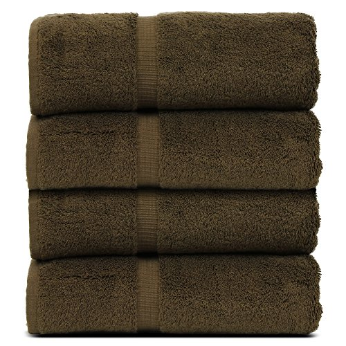 BC BARE COTTON Luxury Hotel & Spa Towel Turkish Cotton Bath Towels - Cocoa - Dobby Border - Set of 4