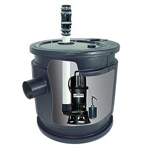 BURCAM 401447P 1.0 HP Complete Grinder Pump System with 24 x 24 Sewage Basin, Black