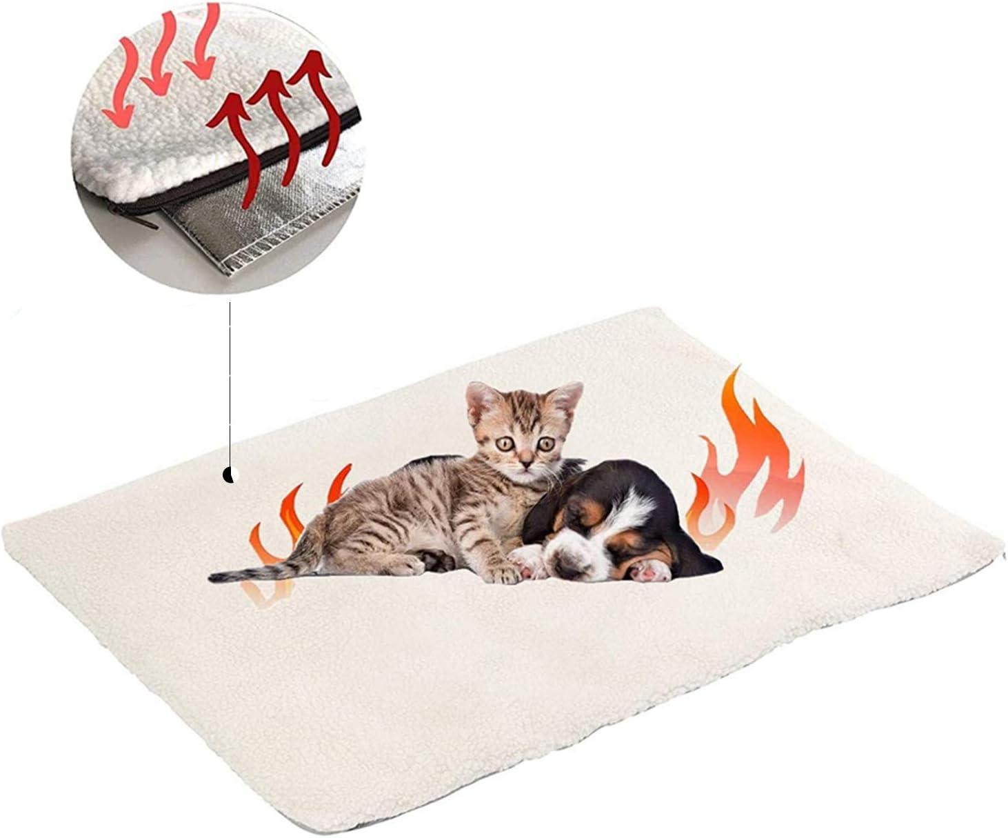 Manta autocalentable para Gatos & Perros,Manta Eléctrica para Mascotas Prueba de Agua Almohadillas,Manta térmica,sin Electricidad y baterías, Cojín de Calor,ecológico,60x45 cm