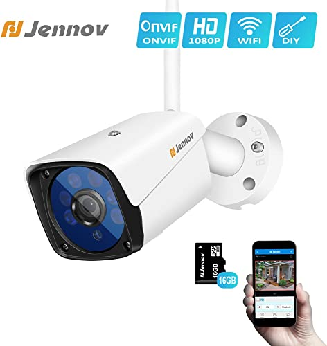 Jennov Wireless Security IP Camera, Wireless WiFi Security IP Camera HD 1080P Outdoor Indoor Night Vision CCTV Home Surveillance Pre-Installed 16G Micro-SD Card Motion Detection Remotely Access