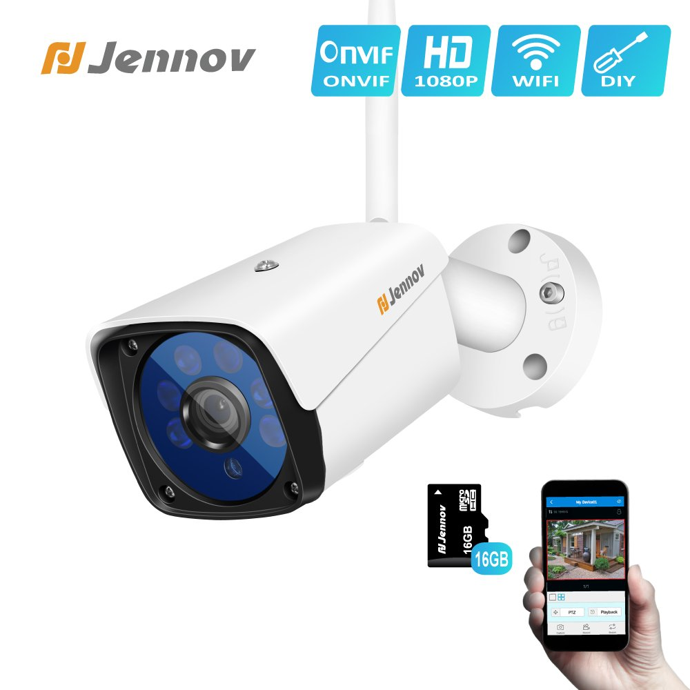 Jennov Wireless Security IP Camera, Wireless WiFi Security IP Camera HD 1080P Outdoor Indoor Night Vision CCTV Home Surveillance Pre-Installed 16G Micro-SD Card Motion Detection Remotely Access…
