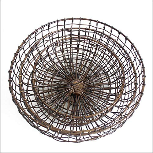 Vintage Handmade Woven Wrought Iron Mesh Fruit Basket Bowl Creative Bronze Snack Plate Tray Holder Stand Round Serving Storage Container (Small+Medium+Large(3pc))