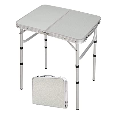 CAMPMAX 2 Foot Small Folding Table Portable with Adjustable Height Legs, Lightweight Sturdy Aluminum Outdoor Folding Table for Camping Cooking Picnic, White 3 Heights: Kitchen & Dining