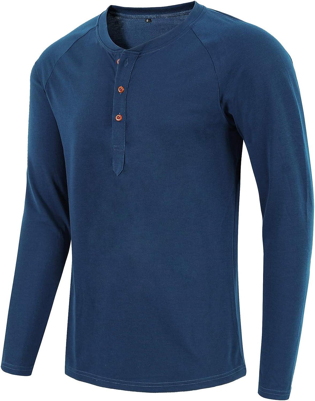Satankud Mens Casual Loose Fit Long Sleeve Henley T-Shirts Cotton Shirts