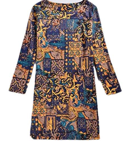 Coolred-femmes Fleur Robe De Bal Classique Imprimé À Col Ras Du Cou À Manches Longues Taille Plus Moyenne Et Maxi Robe Motif1