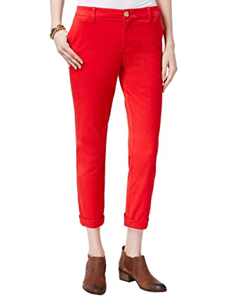 Tommy Hilfiger Womens Hampton Slim Fit Low-Rise Chino Pants