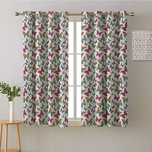 (Curtain for Bathroom Grommets Insulating Darkening Curtains Printed Darkening Curtains Sunbeams Isolated Darkening Curtains Drapes/Draperies(2 Pieces, 42