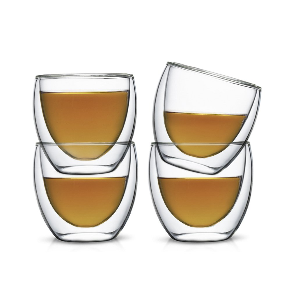 Teabox Minerva Glass Teacup | Small, Insulated and Doublewalled Borosilicate Tasting Tea Cups | Transparent, 2.7 fl oz (Set of 4)