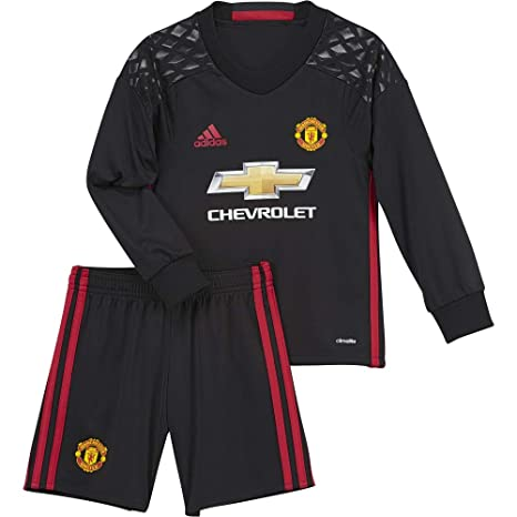 399cb91cf62 Image Unavailable. Image not available for. Color  adidas 2016-2017 Man Utd  Home Goalkeeper Little Boys Mini Kit
