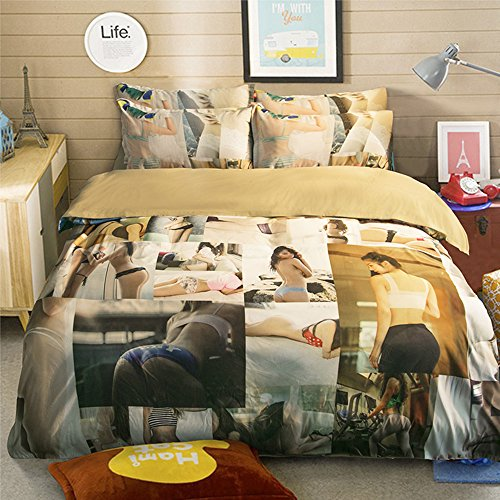 Amazing Sexy Girl Cotton Microfiber 3pc 90''x90'' Bedding Quilt Duvet Cover Sets 2 Pillow Cases Queen Size by DIY Duvetcover
