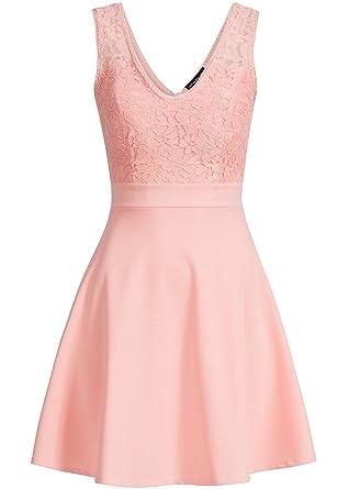 violet Fashion Damen Kleid Kurz mit Spitze und Brustpolster Reißverschluss  hinten rosa  Amazon.de  Bekleidung a0585b4942