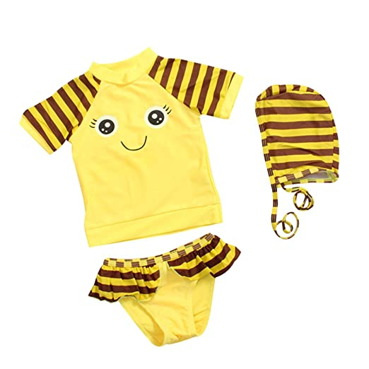 c1a1e0a57aa86 LOSORN ZPY Toddler Baby Girl Two Piece Swimsuit Kids Bee Rash Guard UPF 50+