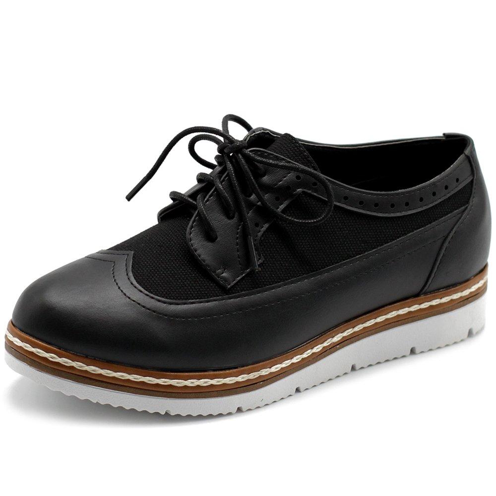 Ollio Womens Shoe Faux Leather Plarform Lace Up Flat Oxfords 1LYRIC-02-1