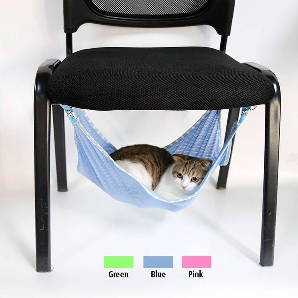 Comfortable and Warm Pet Dog Puppy Cat Kitten Mesh Hammock Sleep Bed Mat Hanging Pet Cage (S bluee)