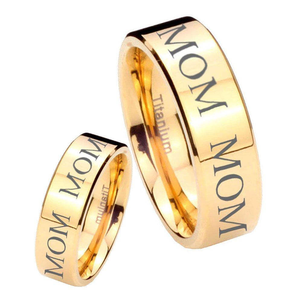 women and men Titanium MOM Engraved Gold IP Pipe Cut Wedding Ring Set Size 7, 11