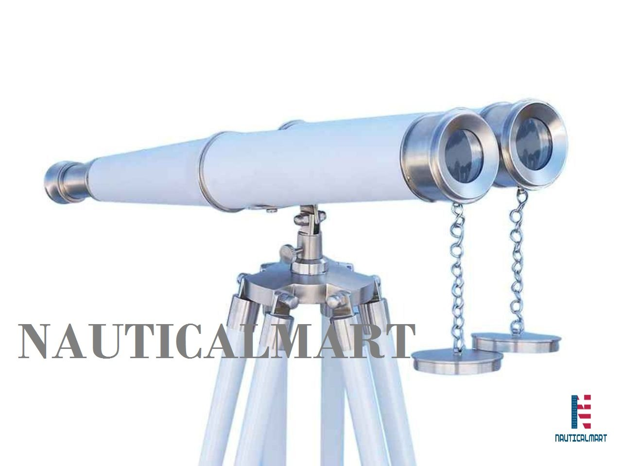 NAUTICALMART Floor Standing Admiral's with Decorative Binoculars 62'' Brushed Nickel/White Leather