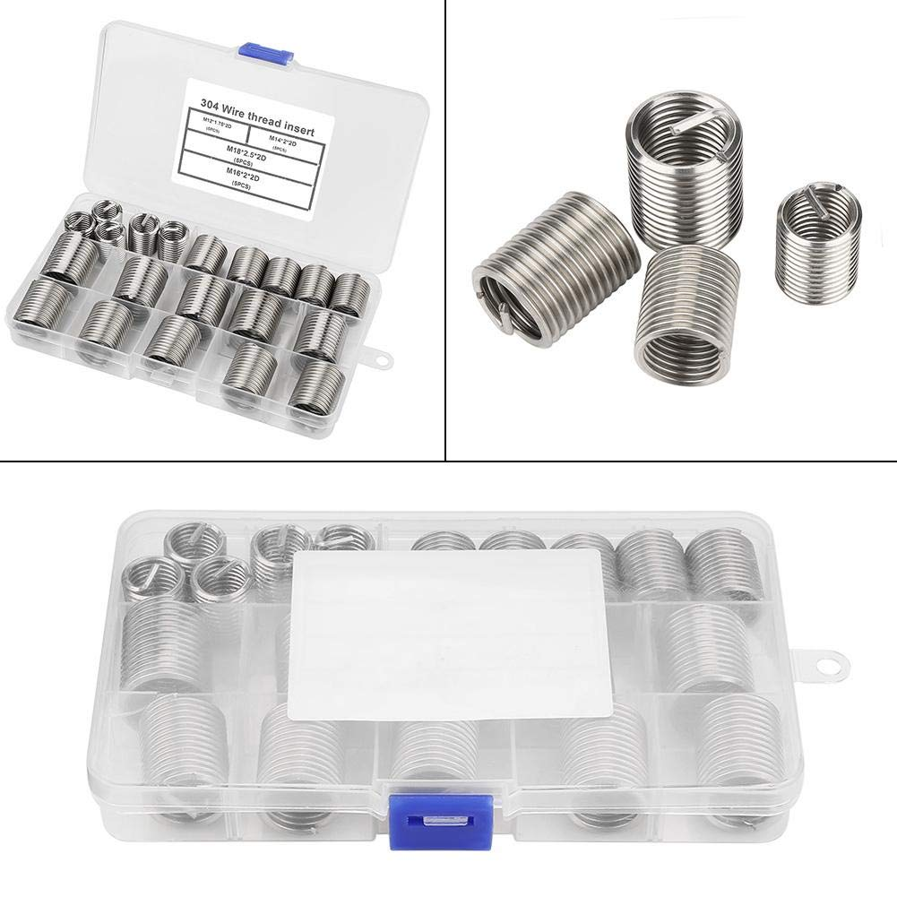 Wal front 20pcs M12-M18 Stainless Steel SS304 Coiled Wire Helical Screw Thread Inserts Used in Low Strength Materials