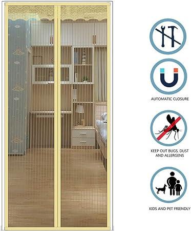 DEDECP Mosquiteras para Puertas, mamparas de Mosca, mamparas de Mosca magnética, mamparas para Puertas, Puertas de balcón, Puertas de salón y Patio, fáciles de Instalar Beige 130CM*220CM: Amazon.es: Hogar