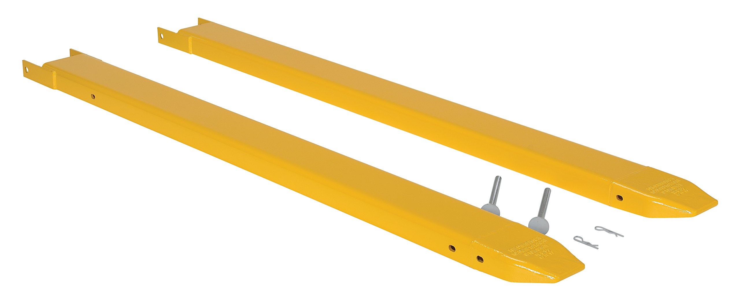 Vestil FE-5-72-P Fork Extensions, Pin Style, 72'' L x 5'' W, Yellow (Pack of 2)