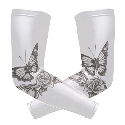 Arm Sleeves Butterfly Rose Tattoo Mens Sun UV Protection Sleeves Arm ...