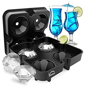 Ice Cube Trays,Ideolco 3D Diamond-Shaped Ice Cube Maker, BPA Free Flexible Silicone Ice Tray with Spill-Resistant Removable Lid and Funnel for Cocktail Whisky Bourbon Pudding