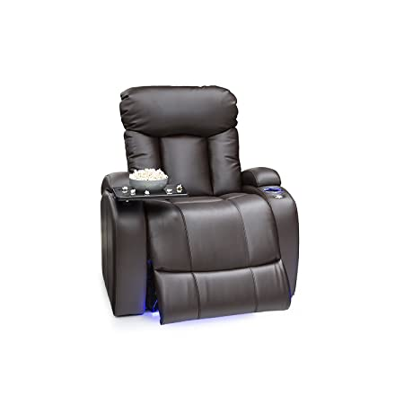 Seatcraft Orleans Leather Gel Manual Recliner with In-Arm Storage, and USB Charging, Brown