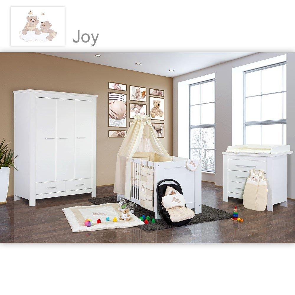 Babyzimmer Enni in weiss 10 tlg. mit 3 türigem Kl. + Textilien Joy in Beige