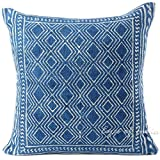 Eyes of India - 24'' Indigo Blue Decorative Pillow Dhurrie Block Print Cushion Cover Floor Couch Sofa Throw Indian Bohemian Colorful BohoCover Only