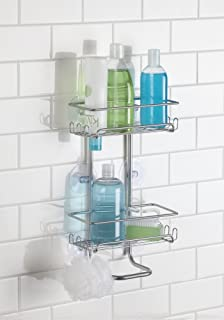 mdesign bath suction shower caddy shelves storage for shampoo conditioner soap satin