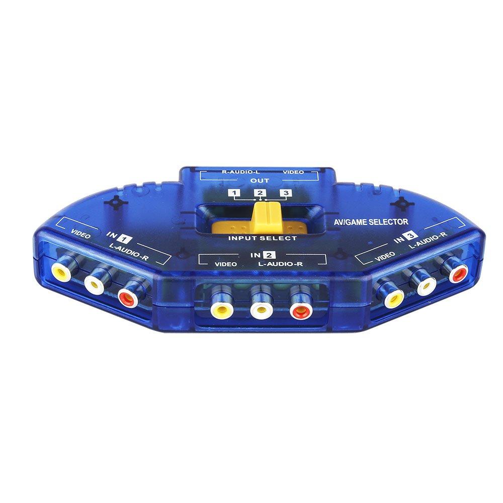 8 en 1 sur 3 RCA AV Audio Splitter Vid/éo Amplificateur pour d/écodeur c/âble DVR TV analogique 1x8 Splitter de Port Composite 3 RCA AV vid/éo commutateur Audio Commutateur 8 in 1 Out