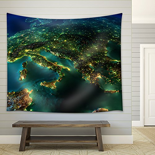 Highly Detailed Earth Illuminated by Moonlight Fabric Wall Tapestry